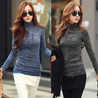 Autumn Women Casual Long Sleeve Turtleneck Slim Tops Knit Sweater T-shirt Blouse