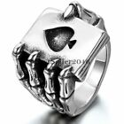 Gothic Biker Stainless Steel Mens Poker Spade Hand Skull Skeleton Claw Band Ring