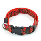 NEW Leopard Pet Cat Dog LED Light Flashing Collar Safety Nylon Neck Collars