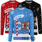 Mens Womens 'To the Pub' Reindeer Novelty Xmas Christmas Sweater Jumper Top