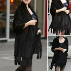 100% Real Warm Knitted Mink Fur Stole Cape Long Shawl Women Coat Unique Design