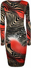 New Womens Print Pattern Ladies Long Sleeve Stretch Bodycon Calf Midi Dress 8-14