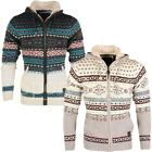 mens Soulstar Borg Fleece Hood Fairisle Knitted Zip Cardigan X-Mas Hooded Jumper