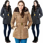 Womens Brave Soul Padded Faux Fur Belted Gold Zipped Parka Jacket Coat XS S M XL