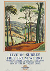 Live in Surrey Free From Worry -  Southern Electric Railway Poster Reprint