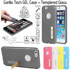 Soft Tpu Gel Stand Case With Tempered Glass For Mobile Phones By Gorilla Tech