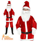 Child Boys Mini Santa Costume Velour Father Christmas Fancy Dress Outfit New