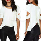 Casual Lady Crew Neck White Irregular Chiffon Cut-out Short Shoulder Blouse Tops
