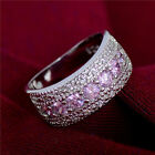 Hot Fashion Silver Plated silver Pink cubic zirconia Wedding Ring size 6 7 8 9