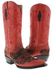 womens red brown engraved floral western leather cowboy cowgirl boots rodeo new
