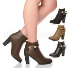 WOMENS LADIES HIGH HEEL STRAP BUCKLE CASUAL SMART PARTY CHELSEA ANKLE BOOTS SIZE