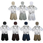 Boy Toddler Formal Silver Vest Bow Tie White Black Gray Brown Navy Hat 5pc S-4T