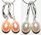 Large 9x11mm Oval Cultured Freshwater Pearl Dangle Drop Earring Silver Leverback