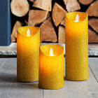 Gold Glitter Battery Operated LED Dancing Flame Candles Xmas Party Decoration