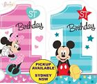 MICKEY OR MINNIE MOUSE 1ST BIRTHDAY PARTY SUPPLIES 8 INVITATIONS INVITES SEALS