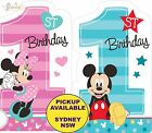 MICKEY OR MINNIE MOUSE 1ST BIRTHDAY PARTY SUPPLIES 8pk INVITATIONS INVITES