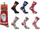 "6 Ladies Christmas Festive Xmas ""Socks From Santa"" Novelty Fun Socks UK 4-8"