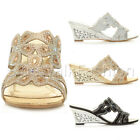 WOMENS LADIES MID HEEL WEDGE FLOWER SLIP ON STRAPPY MULES SANDALS SHOES SIZE