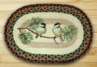 Chickadee Birds on a Branch Oval Braided Jute Placemat