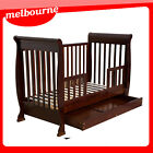 *** VIC PICKUP ***  3 in1 Wooden Baby Crib Toddler Bed Pine Wood (White/Brown)