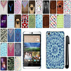 For HTC Desire 826 PATTERN HARD Protector Back Case Phone Cover + Pen