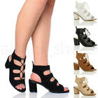 WOMENS LADIES MID HEEL CUT OUT GHILLIE LACE UP PEEP TOE ANKLE BOOTS SANDALS SIZE