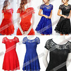 Sexy Women Vintage Lace Short Sleeve Formal Evening Cocktail Mini Party Dress A9