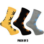 Weed Socks Marijuana Cannabis Leafs Leaves Unisex Adult fit 6-12 D9 Pack Of 3