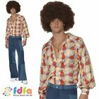 "70s DISCO PATCHWORK DENIM LOOK FLARES - 38""-44"" chest - mens fancy dress costume"