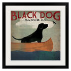 Black Dog Canoe by Ryan Fowler Black Frame ready to hang