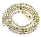 """16-20"""" 1.8m 14k White Yellow Two Tone Gold Italy Ball Bead Ladies Chain Necklace"""