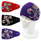 Rhinestone Fleur De Lis Crochet Knit Headband Winter Bling Headwrap Ear Warmer
