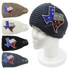 Rhinestone Texas State Crochet Knit Headband Winter Bling Headwrap Ear Warmer