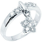 925 Sterling Silver Shiny Clear CZ Elegant Dangling Flower Charm Ring Size 3-11