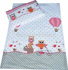 Duvet cover+Pillowcase/Curtains - Baby/Toddler/Junior PINK OWLS WITH SQUIRREL
