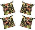 Set of 4 - In / Outdoor Black Tropical Floral Foam Chair Cushions - Choose Size