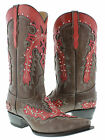 New Women's Overlay Brown Cowboy Boots Ladies Hand Made Studded Leather Snip Toe