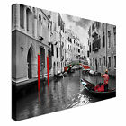 Red tints on Venice Canal Canvas wall Art prints high quality great value