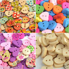 Mutiple Size & Color Wooden Heart Shaped Button Sewing Craft Scrapbooking NEW UK