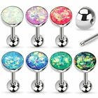 1pc Synthetic Opal Sparkle Set Tongue Ring 316L Surgical Steel Tounge Barbell