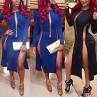 Sexy Women Ladies Mesh Lace Split Bodycon Cocktial Party Midi Dress Clubwear