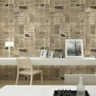 Cream/Beige Vintage English Letter Newspaper Wallpaper For Study Room Covering