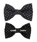 Black With Small White Dots Clip On Cotton Bow Tie 2T 3T / Men