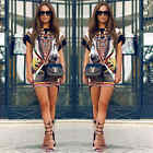 Womens Short Sleeve Printed Shirt Mini Dress Floral Summer Casual Tops Blouse