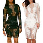 New Sexy Woman Black Lace Cocktail Party Mini Long Sleeved Slim Lace Dress