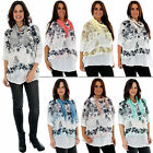 New Ladies Italian Butterfly Blossom Mesh Floral Cotton Top Of Size 10 12 14 16