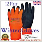 12 PAIRS THERMAL WINTER LATEX RUBBER COATED WORK GLOVES COLD STORE OUTDOOR WORKS