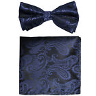 New Men's Bow Tie Paisley Pre-tied Colors Bowtie And Pocket Square Hanky Set