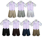 4pc Set Boy Toddler Formal Lilac Vest and Necktie Black Navy Khaki Shorts S-4T