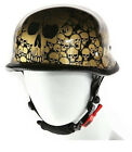 MEN'S BIKERS GERMAN NOVELTY HELMET IN GREY RED GOLD WHITE BLUE SKULLS GRAPHIC